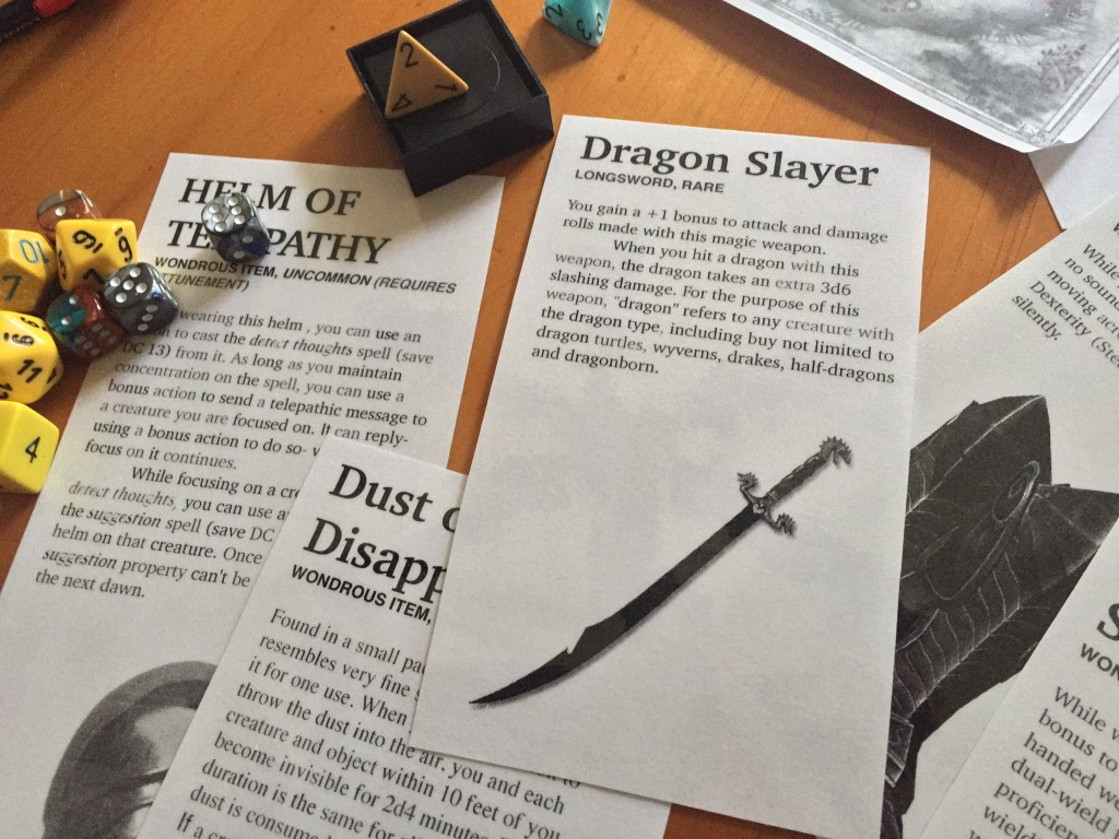Pre-made item cards for Dungeons & Dragons