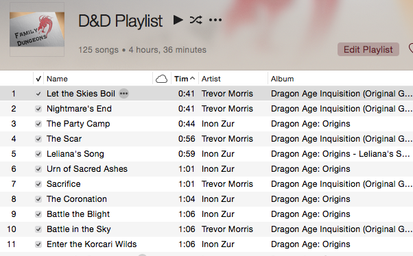 iTunes - D&D Playlist